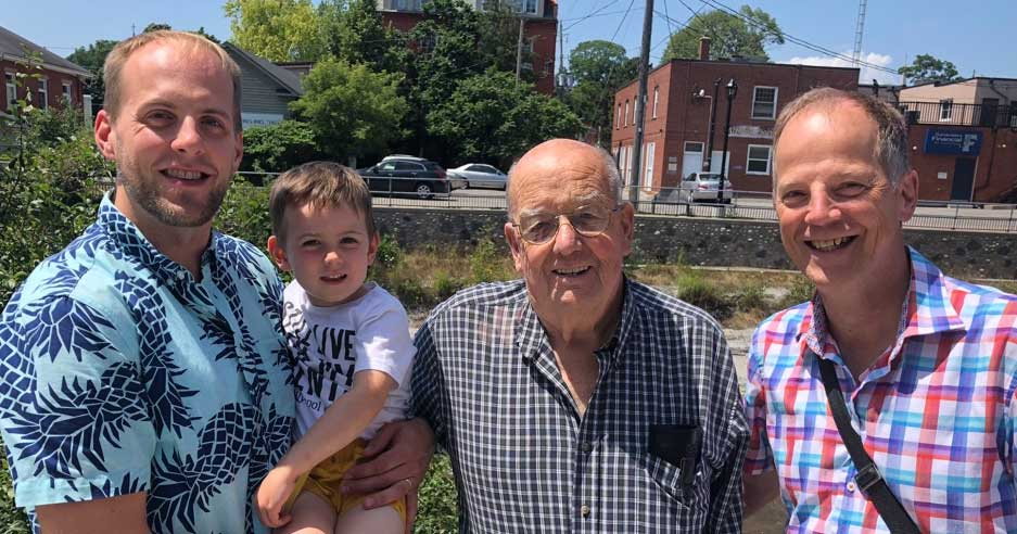 4 generations of Everdells - Ian, his son Ben, his grandfather Ray, and his father Tim.